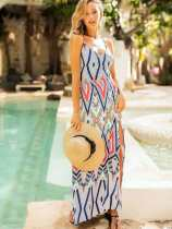 Geometric Print Bohemian Tie Back Backless Maxi Slit Dress