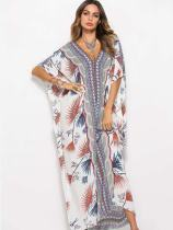 Floral Print Batwing Sleeve Oversized Loose Maxi Dress