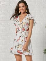 White Floral Print Ruffle Sleeve Belted Chiffon Dress