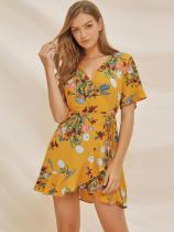 Yellow Floral Print Ruffle Hem Belted Wrap Dress