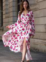 Rose Print Long Sleeve Belted Slit Maxi Bohemian Dress
