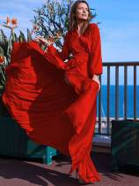 Bohemian V Neck Long Sleeve Slit Maxi Chiffon Dress