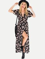 Floral Print Belted Slit Hem Maxi Boho Dress