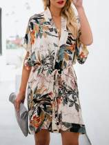 Floral Print V Neck Belted Mini Dress