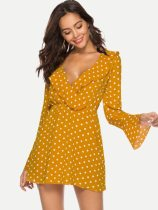 V Neck Polka Dot Print Ruffle Mini Chiffon Dress
