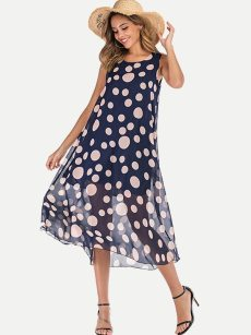 Polka Dot Print Sleeveless Chiffon Long Dress