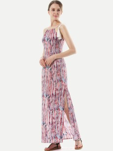 Halter Neck Colorful Print Sexy Long Slit Dress