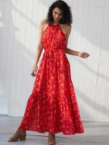 Halter Neck Red Floral Print Backless Tank Chiffon Dress