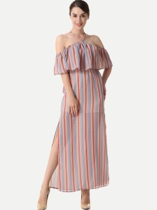 Halter Neck Cold Shoulder Striped Slit Ruffle Dress
