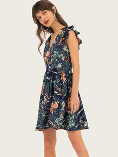 Navy Floral Print High Waist Ruffle Dress