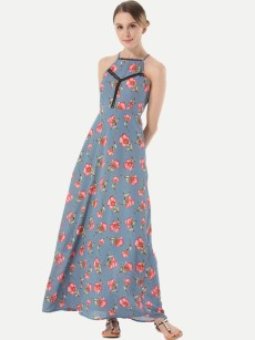 Halter Neck Floral Print Hollow Tie Back Sleeveless Dress