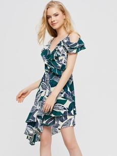 Cold-Shoulder Green Leaf Print Ruffle Irregular Dress