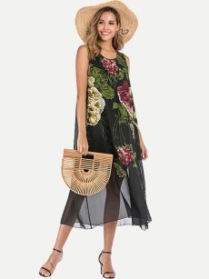 Floral Print Sleeveless Chiffon Long Dress