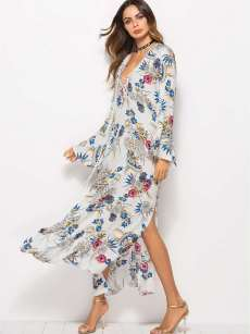 White Floral Print Tie Front Flare Long Sleeve Slit Dress
