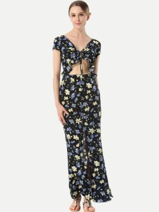 Knot Front Hollow Out Floral Print Maxi Slit Dress