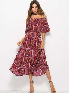 Boat Neck Floral Print A-line Long Dress