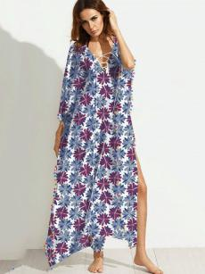 Floral Print Pom Pom Trim Batwing Sleeve Slit Dress