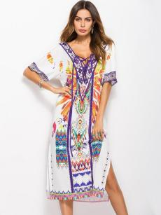 White Tribal Print Tie Front Backless Loose Slit Dress
