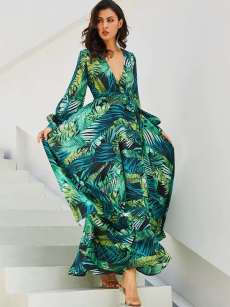 V Neck Leaf Floral Print Puff Long Sleeve Belted Maxi Dress