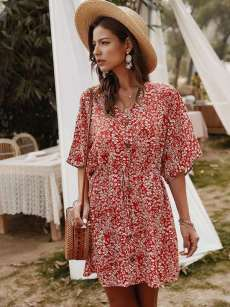 Button Front Disty Floral A-line Dress