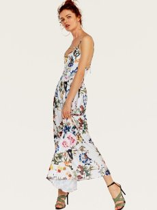Floral Print White Tie Open Back Slip Cami Dress