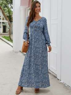 V Neck Disty Floral Print Long Sleeve Slit Dress