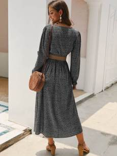 Square Neck Ditsy Floral Long Sleeve Cotton Dress