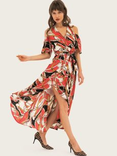 Geometrical Print Cold Shoulder Belted High Low Wrap Dress