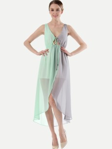 Color Block Lace-up Asymmetrical Hem Tank Chiffon Dress