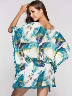 Tropical Print Batwing Sleeve Pom Pom Trim Mini Dress