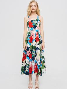 White Floral Print Crisscross Backless Slip Dress