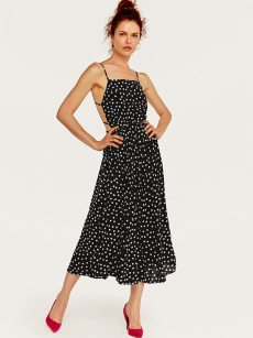 Black Polka Dot Print Open Back Slip Beach Long Dress
