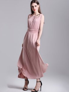 Halter Neck Solid Pleated Sleeveless Maxi Dress