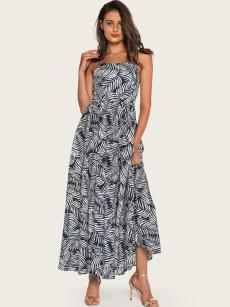 Tropical Leaf Print Backless Maxi Dress