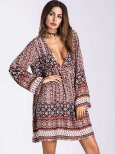 Plunge Neck Tribal Print Loose Long Sleeve Dress