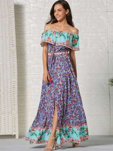 Boat Neck Floral Print Slit Hem Bohemian Dress