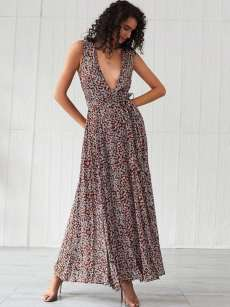 V Neck Ditsy Floral Belted Slit Hem Boho Dress