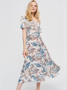 Oblique Shoulder Floral Print Ruffle Hem Dress