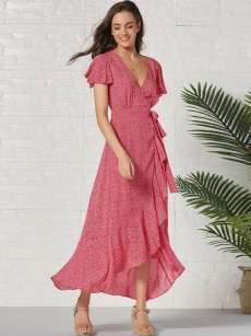 Ditsy Floral Print Belted Ruffle Hem Maxi Wrap Dress
