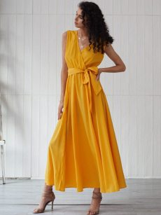 Solid Belted Slit Hem Sleeveless Maxi Dress