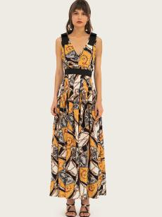 V Neck National Print Backless Color Block Dress
