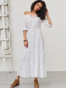 Off Shoulder Bishop Sleeve Tie Front Shirred Frill Trim Dress