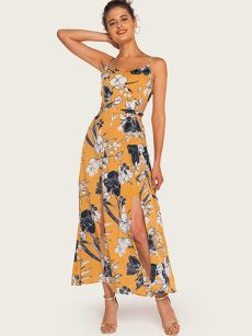 Floral Print Slit Hem Backless Slip Cami Dress