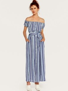 Off Shoulder Blue Striped Belted Slit Hem Dress