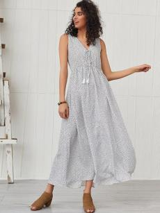 White Lace-up Maxi Sleeveless Polka Dot Dress