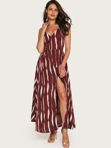 V Neck Striped Bow Tie Back Slit Hem Sleeveless Dress