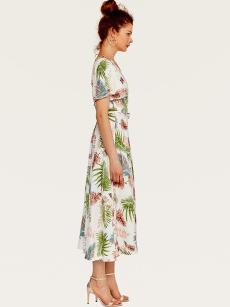 Kimono Style Belted Long Tropical Print Dress