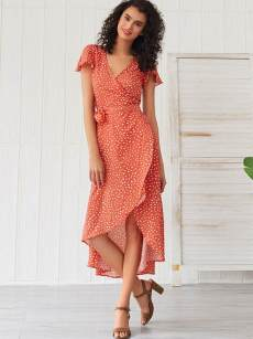 Orange Polka Dot Print Asymmetrical Hem Belted Wrap Dress