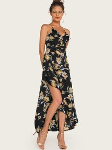 Floral Print Backless Asymmetrical Hem Maxi Wrap Dress