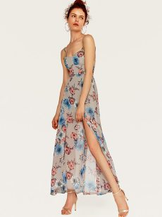 Floral Print Slit Hem Backless Slip Dress